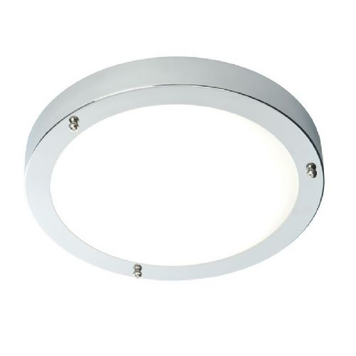 LED Chrome effect plate & frosted glass Flush IP44 Bathroom Light 54676 by Endon